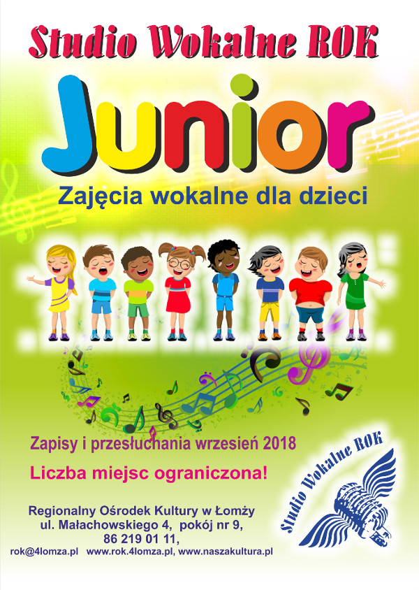 Studio Wokalne ROK Junior - zapisy 2018